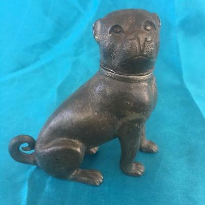 FINE ANTIQUE 19th CENTURY GERMAN COLD PAINTED BRONZE METAL PUG DOG FIGURINE.