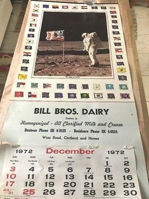 """1972 Calendar-picture Of """"Neal Armstrong""""On The Moon-Bill Bros Dairy-Advertising"""