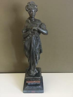 Fine Antique French Bronze Figure Of A Muse Pandora's Box On Marble Base..