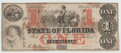 1863 $1 State Of Florida Tallahassee