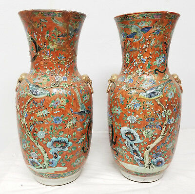 Antique Chinese Nonya Straights Straits Porcelain Large Vases Dragon As Is