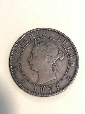 Canadian coin, One cent, Victoria Queen, Prince Edward Island,  1871