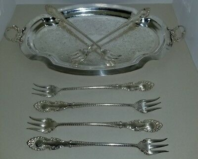 WM Rogers Silverplate 6  seafood COCKTAIL forks & bonus serving tray(Unbranded)