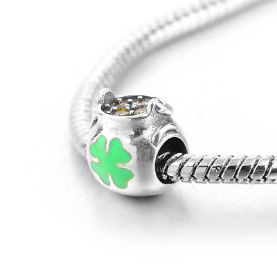 1cefe0e7f Authentic Genuine Sterling Silver Clover Bead Charm - Irish Shamrock Luck  Charm