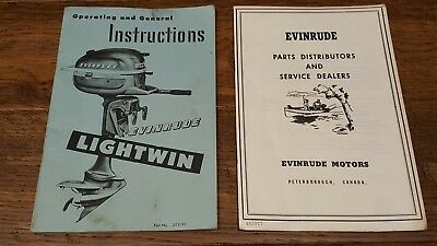 Owners Operator manual for Evinrude Lightwin and 1978 Evineude 9.9 and 15 hp