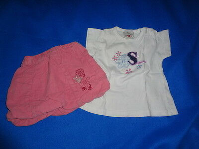 jupe boule rose + tshirt blanc dessin manches courte taille 3 mois