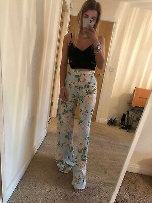 A5023 Size 4 Boohoo Womens Blue Floral Pastel Fitted Summer Slay Trousers