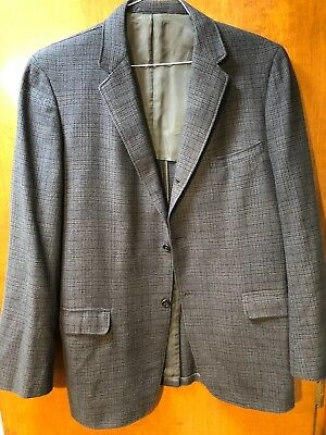 Mid Century 60s Madison Clothes 3/2 Roll Sport Coat 42 Long Dk Blue Grey Plaid