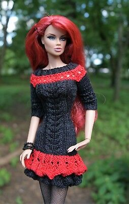 "Hand made outfit: dress   for FR2 Poppy Parker Barbie & similar 12"" dolls"