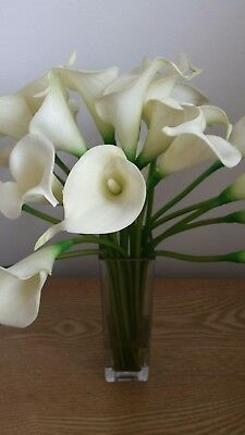 Laura Ashley square glass vase with cream lilies