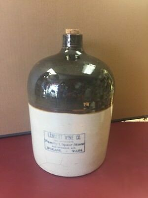 Rare Langert Wine Co. Stoneware Jug 2 Gallon Spokane Wa. 1910-15 ANTIQUE