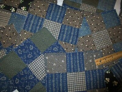 "Antique Quilt Blocks Hand sewn large lot 20 piece-9"" Quilt Primitives"