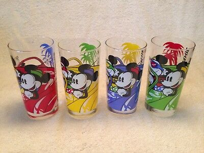 "BIG 12 oz Disney Glasses.Micky and Mini Complete Set with Box.""Absolutely Mint"""