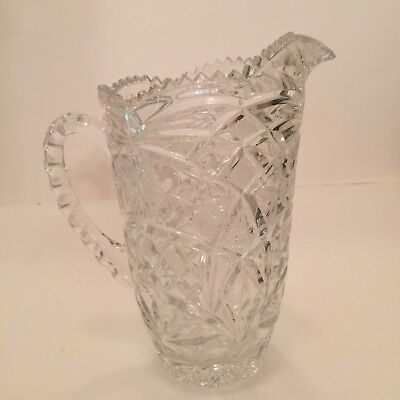 "American Brilliant Period Pitcher Heavy Diamond Cut Glass Water Milk 7"" Tall VTG"