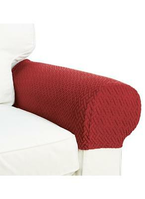 2 Piece Armrest Covers Stretchy Set Chair Or Sofa Arm  Protectors Burgundy/Brick