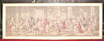 Antique Victorian Era Tapestry Social Gathering of French Colonial Aristocrats