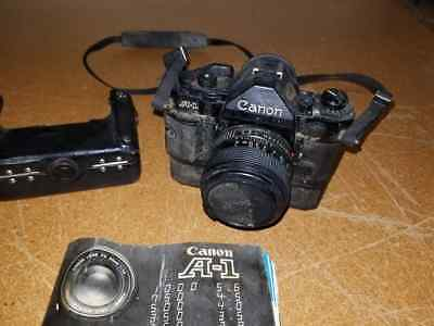 Vintage Canon A1 35mm SLR Film Camera With Power Winder and 50mm 1:1.4 FD Lens