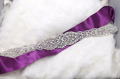 Beaded Silver Rhinestone Crystal Wedding Pearl Belt Applique Sew/Iron Sash Trim