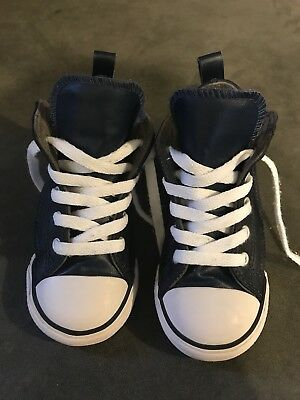 Converse All Star Kids High Top Shoes Size 8 Sneakers Blue Leather with Velcro