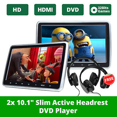 "2x 10.1"" Portable Car DVD Player Headrest Monitor HDMI 2xIR Headphones FM HD USB"