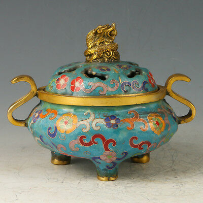 Chinese Exquisite Brass Cloisonne Three Foot Incense Burner Carved Pattern GL575