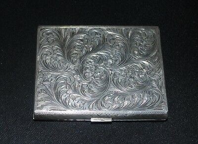 Vintage Silver Cigarette Case Engraved Stamped 800 or 925 Tobacco Collectable