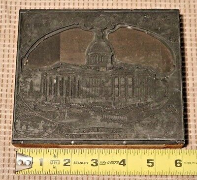 Antique Metal & Wood Printing Plate St.Louis Court House Relief Engraved