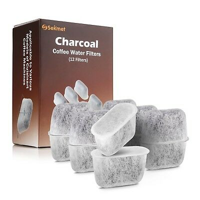 Sekmet Replacement Charcoal Water Filters for Cuisinart Coffee Makers 12-Pack
