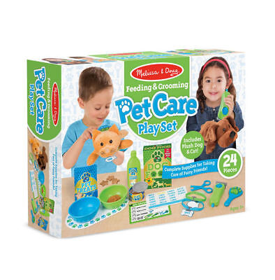 New Melissa & Doug Feeding & Grooming Pet Care Play Set Pretend Play Dog Cat