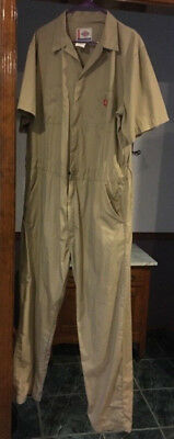 Dickies Short Sleeve Coveralls Coverall Khaki XL Tall 46 - 48 Chest 34 Inseam