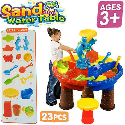 Kids Sand Water Round Dolphin Table Stool Beach Garden Play Toys Set Gifts 23Pcs
