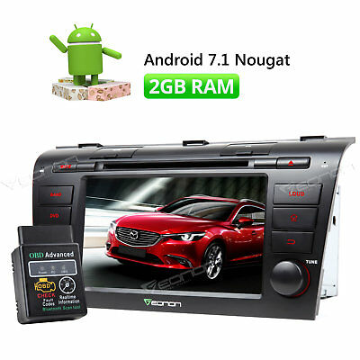 "Android 7"" CAR STEREO DVD GPS Navigation for Mazda 3 2004-2009 RADIO FM+ OBD2 B"