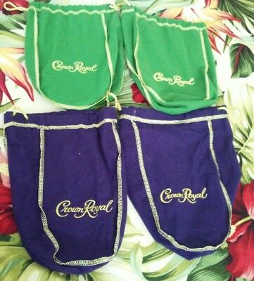 Lot of 4 Crown Royal Bags( Assorted) Pre-owned