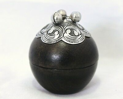 Vintage Trinket/Jewelry/Pill Box - Round Wood Ball With Silver Decor