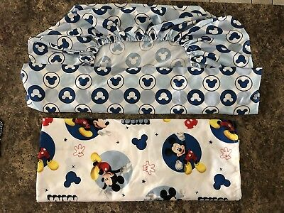 Disney Mickey Mouse Baby Toddler Crib Sheet Set Fitted Bottom & Flat Top EUC