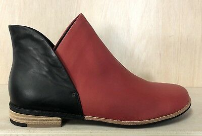 NEW Django & Juliette Red And Black Leather 'Aframe' Ankle Boots