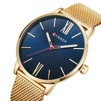 CURREN Fashion Mens Quartz Date Stainless Steel Mesh Casual Analog Wrist Watch