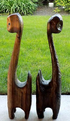 """Pair of 2 WITCO Carved Wood HUGE 33"""" TIKI CATS with GLASS EYES 1960's-1970's"""