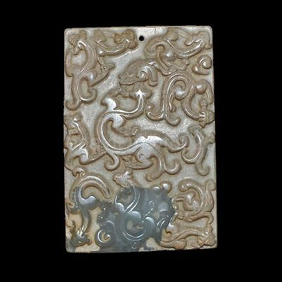 Old Chinese antique Jade hand-carved Beast Statue Pendants Amulet~dragon bi