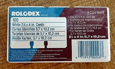 "Rolodex Brand 2 1/4"" x 4"" REFILL CARDS 100 Pack New Sealed C24 White Plain"