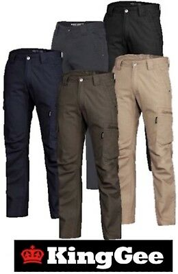 King Gee Mens 'tradie' Narrow Fit 100% Cotton Canvas Cargo Work Pants - K13280