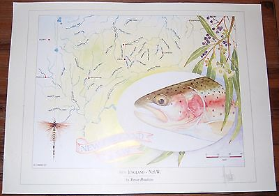 Fly Fishing Artwork - SIGNED Trevor Hawkins Print - New England, NSW