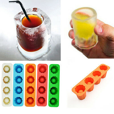 4CUP Ice Cube Tray Mold Makes Shot Glasses Mould Novelty Summer Drinking Tool