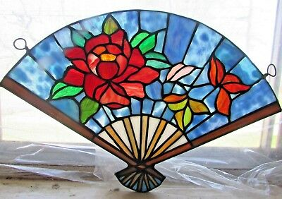 """BEAUTIFUL & COLORFUL Stained GLASS """"FAN WITH FLOWERS"""" Sun Catcher 10"""" x 16"""" WIDE"""