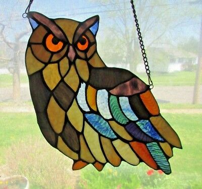 """BEAUTIFUL & COLORFUL Stained GLASS """"WISE OLD OWL  #1 """" Sun Catcher 13"""" x 7"""" WIDE"""