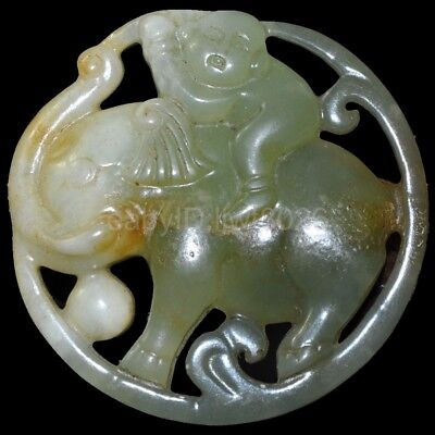 Old Chinese antique Jade hand-carved Beast Statue Pendants Amulet ~Elephant