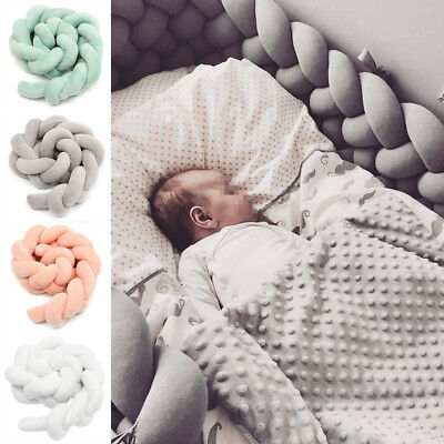 2 /3m Baby Infant Plush Crib Bumper Bed Bedding Cot Braid Pillow Pad Protector