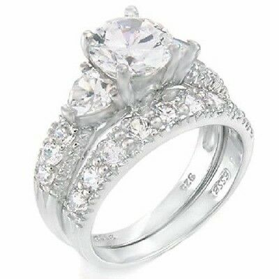 STERLING SILVER Simulated Diamond Engagement Wedding 2 Ring Set Size 9 / R