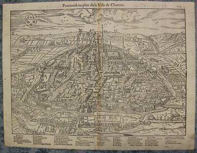 Chartres France 1575 Münster & Belleforest Unusual Antique Woodcut City View