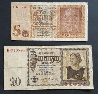 Germany 5 & 20 reichsmark 1939-1942